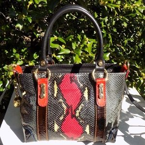 Marino Orlandi Python embossed patent leather